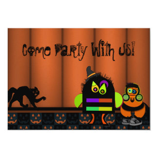 """Monster Bash Halloween Party 5"""" X 7"""" Invitation Card"""