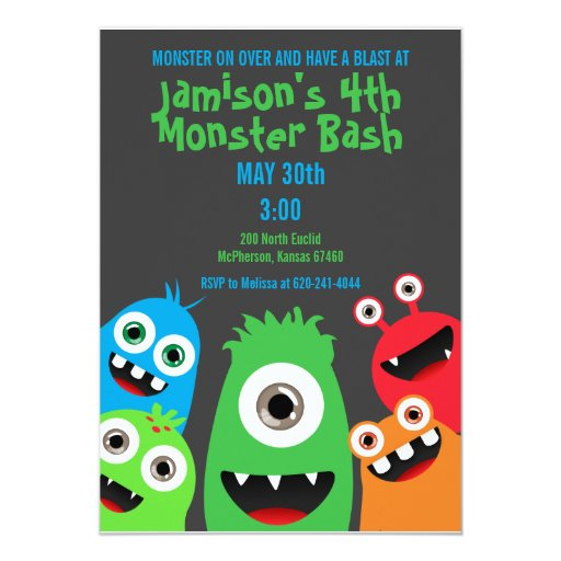"Monster Bash Invitations 5"" X 7"" Invitation Card"