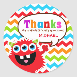 Monster Bash Thank You Favor Tag Classic Round Sticker