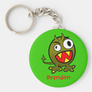 Monster Basic Round Button Keychain