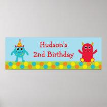 Monster Birthday Banner Poster