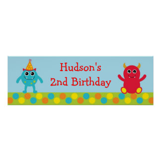 Monster Birthday Banner Posters