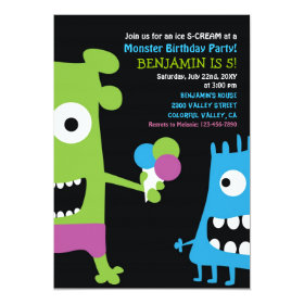 Monster Birthday Ice Cream Kids Party Invitation 5