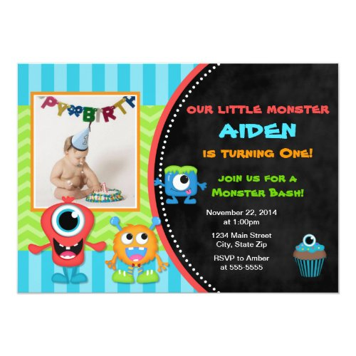 Monster Birthday Invitation Boy 1st Birthday