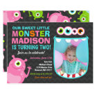 Monster Birthday Invitation Pink Monster Party