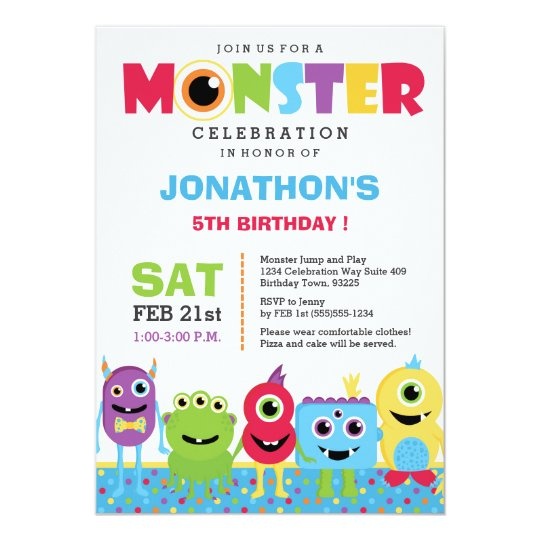monster birthday party invitation zazzle com
