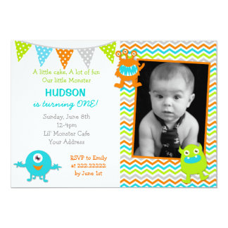 "Monster Birthday Party Invitations 5"" X 7"" Invitation Card"