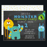 """Monster Birthday Party Theme Chalkboard Invitation<br><div class=""""desc"""">Celebrate your little one"""