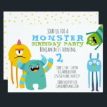 """Monster Birthday Party Theme Invitation<br><div class=""""desc"""">Celebrate your little one's birthday with this cute monster themed party invitation.  Just add your party details and let the fun begin!</div>"""