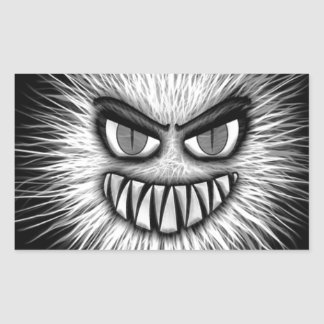 Monster Black And White Face Picture Rectangular Sticker