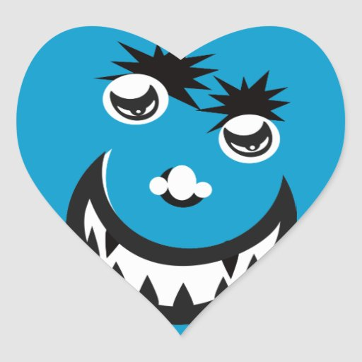 Monster Blue Heart Sticker