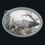 "Monster bull trophy buck belt buckle<br><div class=""desc"">Bull elk and trophy buck deer. Wildlife animals in the forest.</div>"