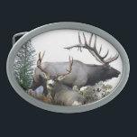 "Monster bull trophy buck belt buckle<br><div class=""desc"">Bull elk and trophy buck deer. Wildlife animals in the forest.</div>"