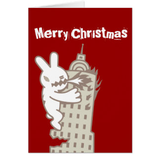Monster Bunny is Coming Christmas Card