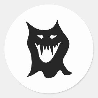 Monster Cartoon Black Round Stickers
