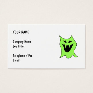 Monster Cartoon. Green and Black. Business Card