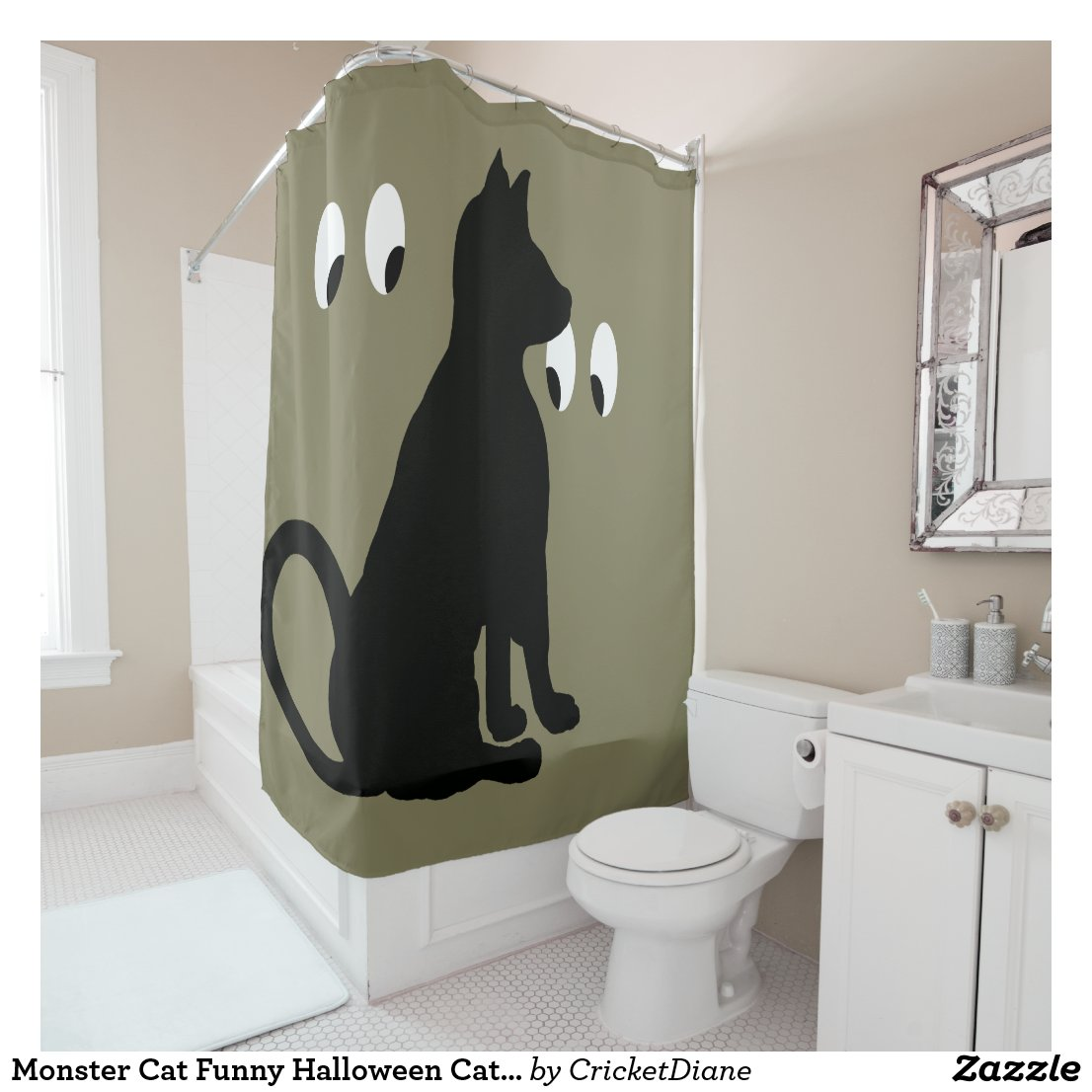 Monster Cat Funny Halloween Cats CricketDiane Shower Curtain