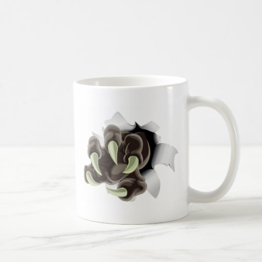 Monster claw breaking through background classic white coffee mug