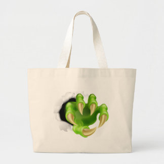 Monster claw hand ripping tote bags