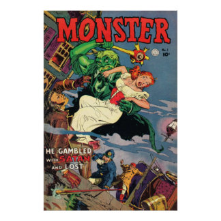 Monster Comic Book Cover Poster