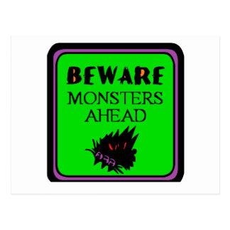 monster crossing halloweenprints postcard