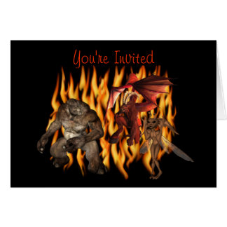 Monster Demon Gremlin Halloween Party Invitation Stationery Note Card