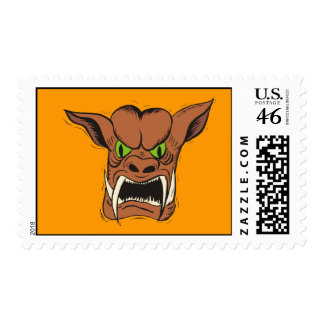 Monster Dog with green eyes Postage Stamps