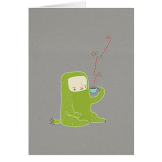 monster drinking coffee card