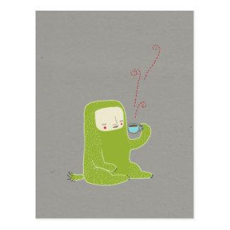monster drinking coffee postcard
