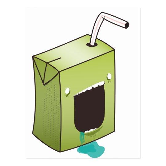 Monster drooling juice box postcard