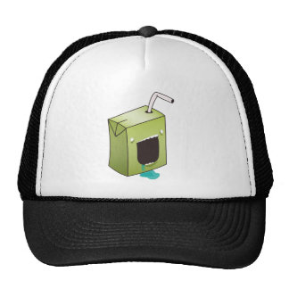 Monster drooling juice box trucker hat