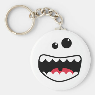 Monster face basic round button keychain