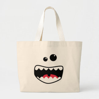 Monster face large tote bag