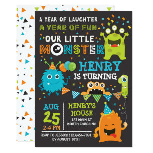 Monster Birthday Invitations Announcements Zazzle