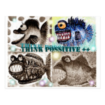 Monster fish gang postcard