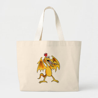 monster flying yellow large tote bag