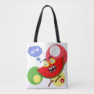 Monster fruit watermelon illustration tote bag