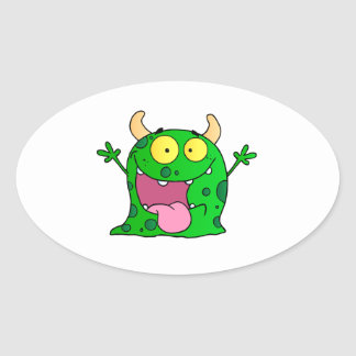 Monster Funny Comic Drawing Cartoon Cute Happy Oval Sticker