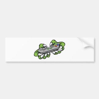 Monster Gamer Claws Holding Games Controller Bumper Sticker
