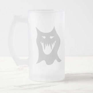 Monster Ghost Cartoon in Gray. Frosted Glass Beer Mug