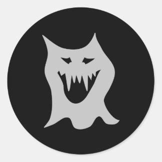 Monster Ghost Cartoon in Gray Round Sticker