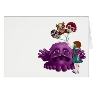Monster Gnome Skulls and Little Girl Card