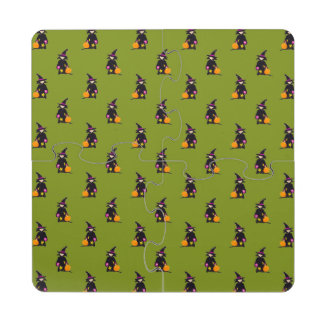 Monster Green Halloween Toddler Witch Puzzle Coaster