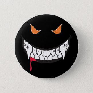 Monster Grin Black Round Button