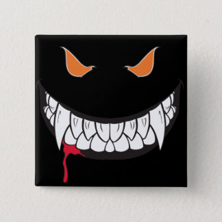 Monster Grin Black Square Button