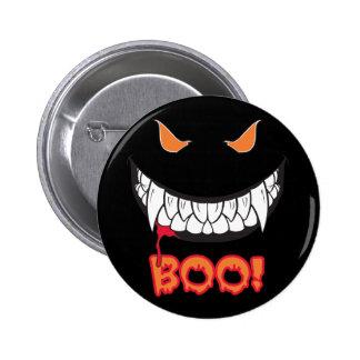 Monster Grin Boo! Men's Black Round Button