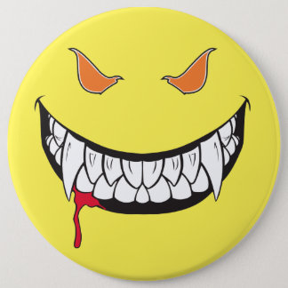 Monster Grin Happy Face Yellow Round Button