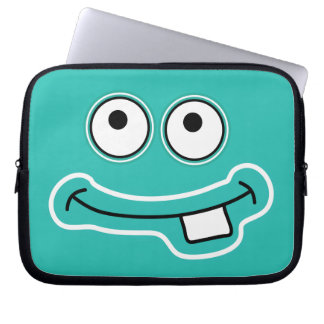 Monster Grin with Big Eyes Cartoon Face Laptop Sleeves
