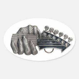 Monster Guitar Hand Oval Sticker