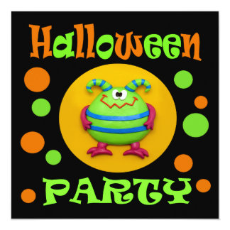 Monster Halloween Party 5.25x5.25 Square Paper Invitation Card